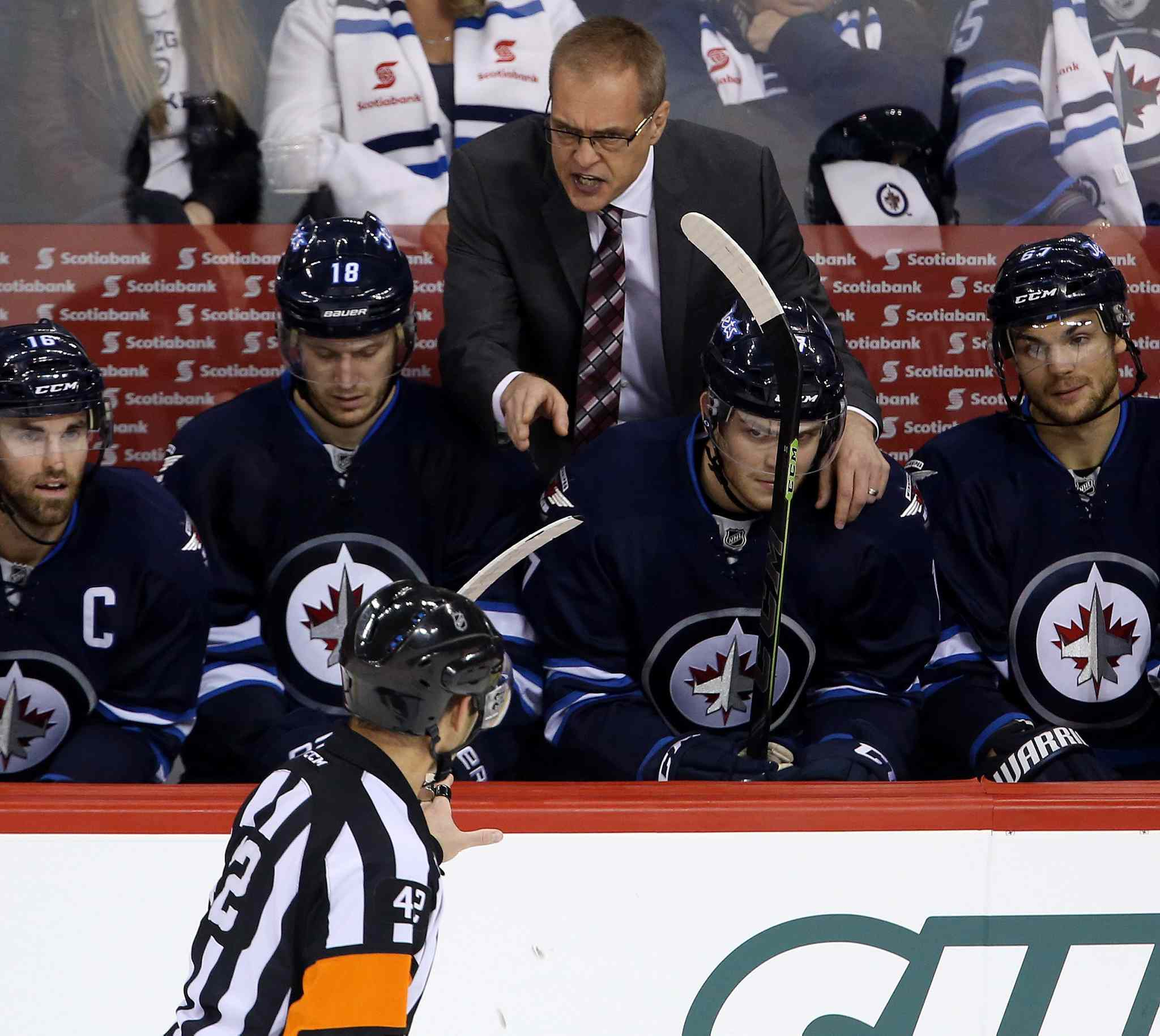 Winnipeg Jets head coach Paul Maurice reacts after Blake Wheeler (26), not shown, was given a penalty against the Calgary Flames last year.