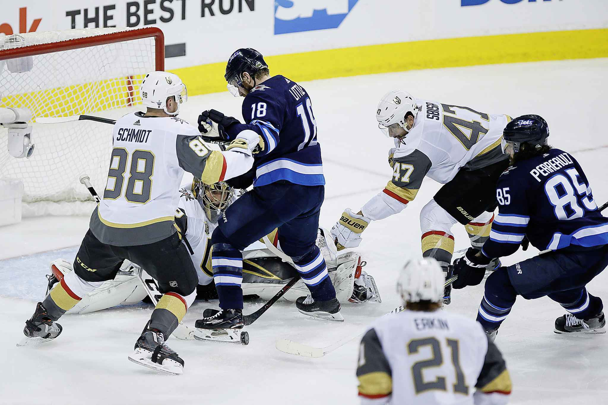 JOHN WOODS / THE CANADIAN PRESS</p><p>Vegas Golden Knights goaltender Marc-Andre Fleury (29) keeps his eye on the puck as Nate Schmidt (88) and Luca Sbisa (47) defend against Winnipeg Jets&#39; Bryan Little (18) and Mathieu Perreault (85) Saturday at Bell MTS Place. The Golden Knights will be looking to rebound from their Game 1 loss.</p>