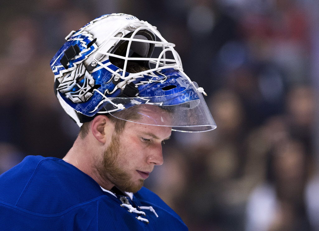 Toronto Maple Leafs goalie James Reimer (34) looks on during stoppage in play against the Winnipeg Jets during the first period.