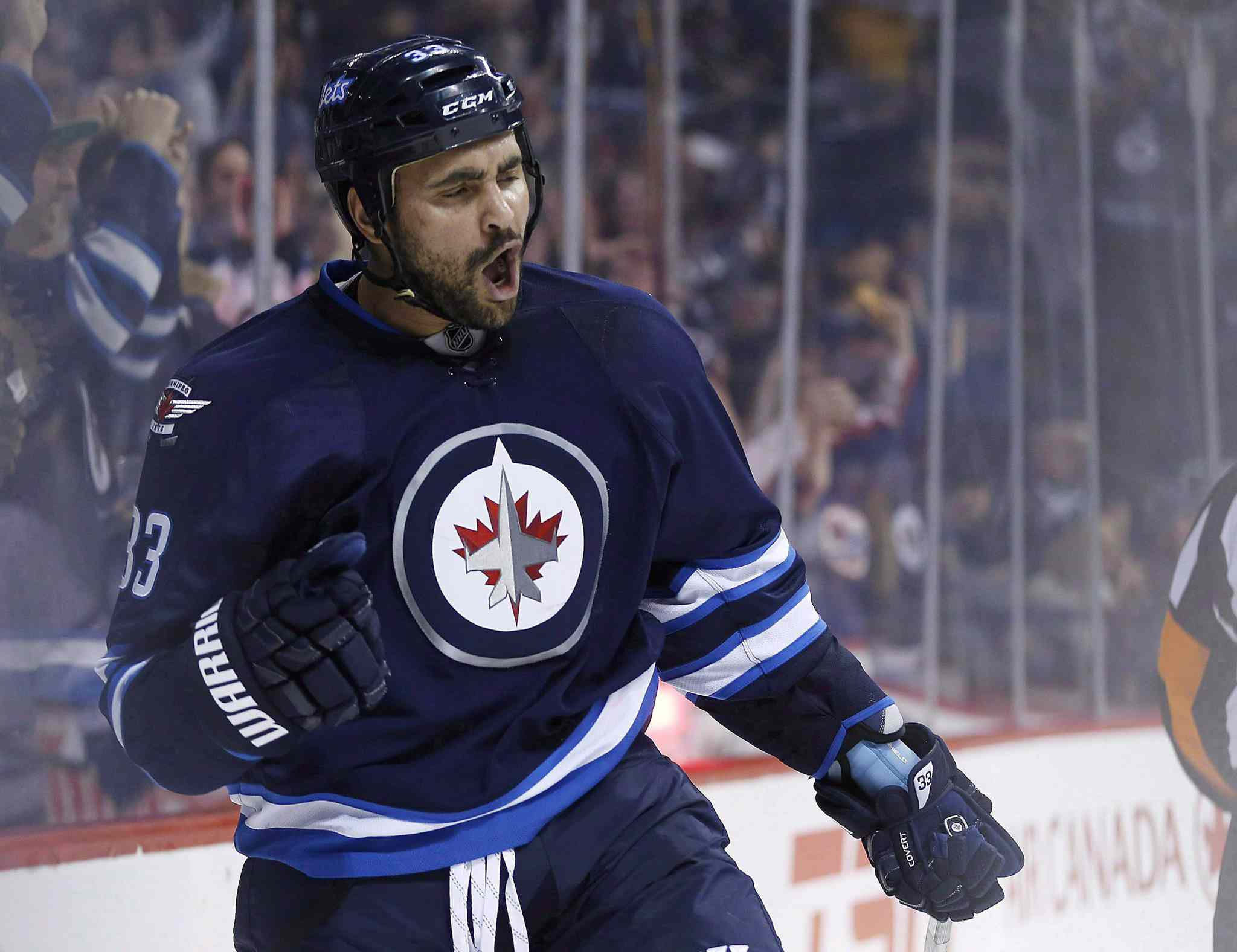 Winnipeg Jets' Dustin Byfuglien celebrates a goal against the Toronto Maple Leafs on Jan. 3.
