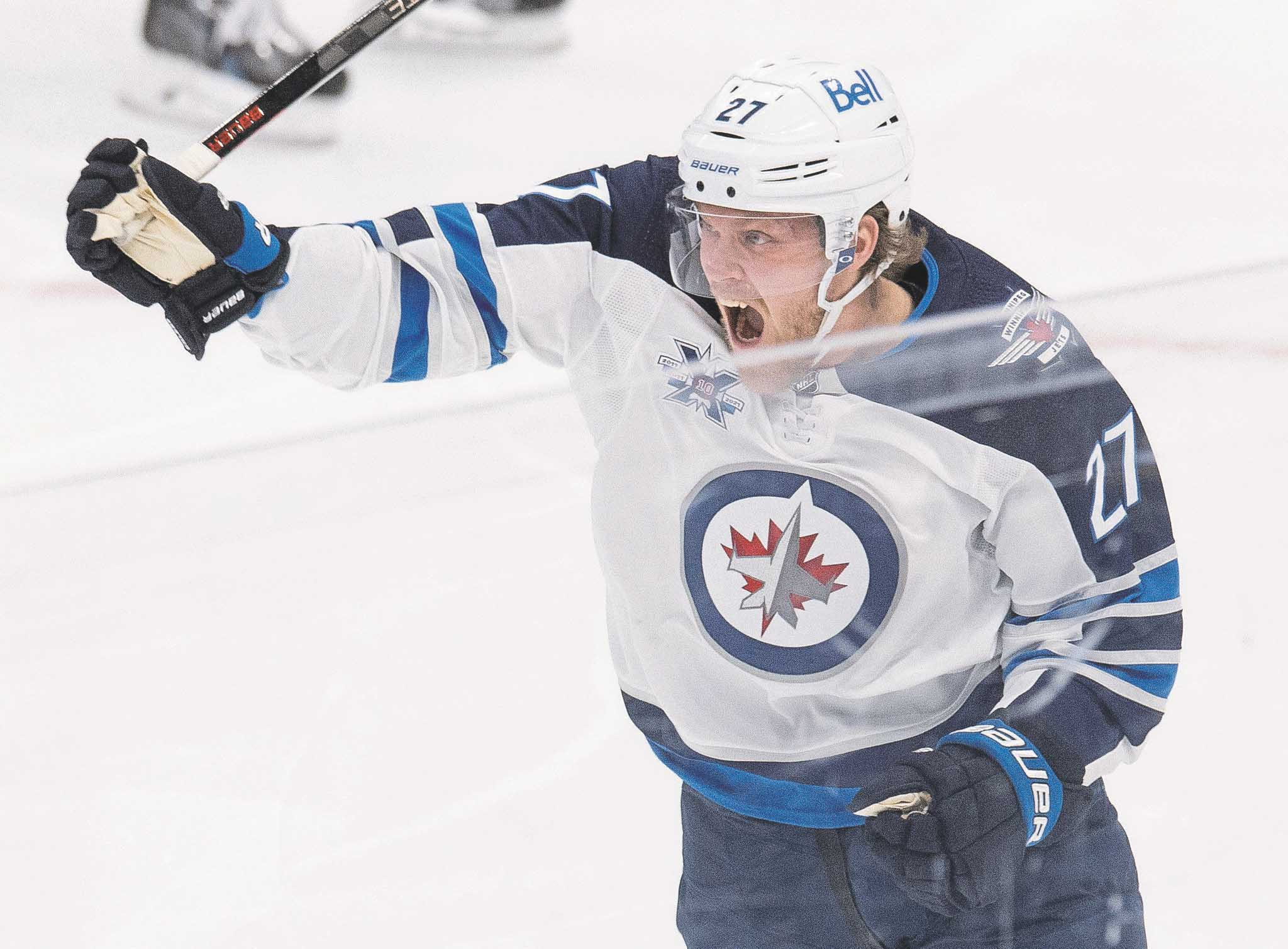 Ehlers celebrates his goal during the third period against the Toronto Maple Leafs in Toronto  Thursday.