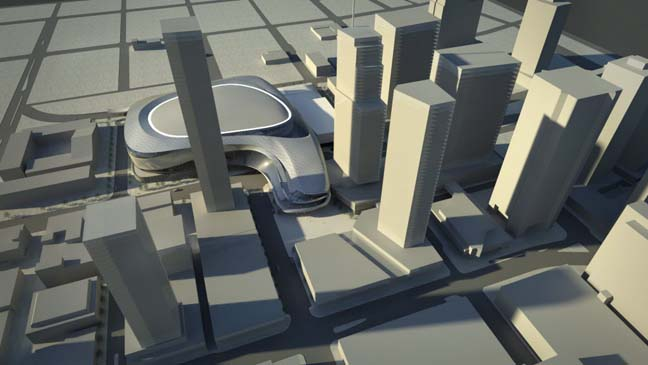Images of the proposed arena for downtown Edmonton feature a futuristic building of steel and glass shaped like a lop-sided boomerang.