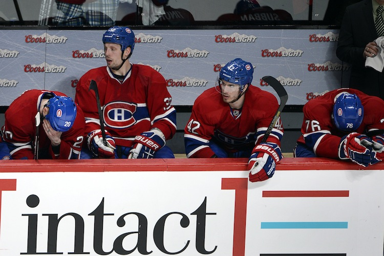 Montreal Canadiens (from left) Colby Armstrong, Travis Moen, Jarred Tinordi and P.K. Subban wait out the final seconds during the third period. (CP)
