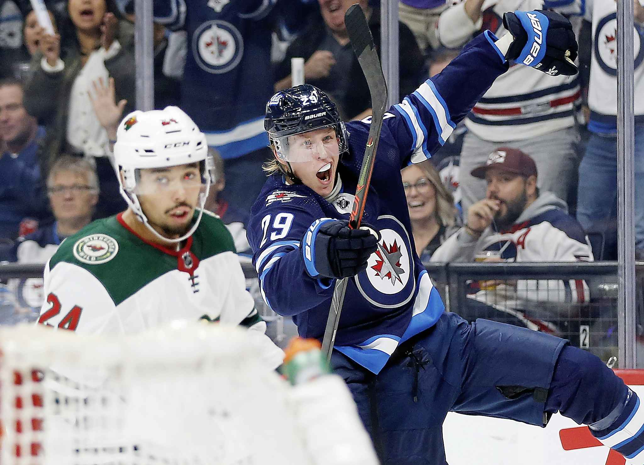 Patrik Laine has three goals and seven assists in five games this season, compared to two goals and one assist after five games last year. (John Woods / The Canadian Press)