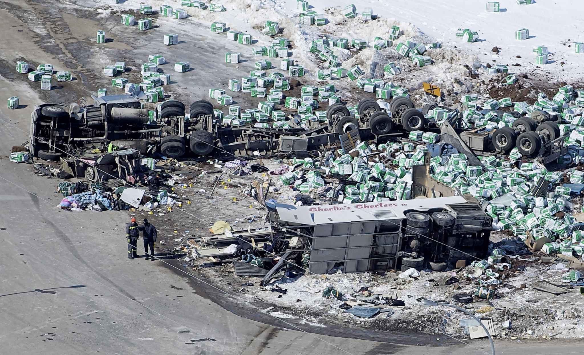 A truck driver with only three weeks of road experience drove his semi through a stop sign without braking and hit a bus carrying the Humboldt Broncos junior hockey team. Sixteen people were killed and 13 others were injured. (Jonathan Hayward / The Canadian Press files)