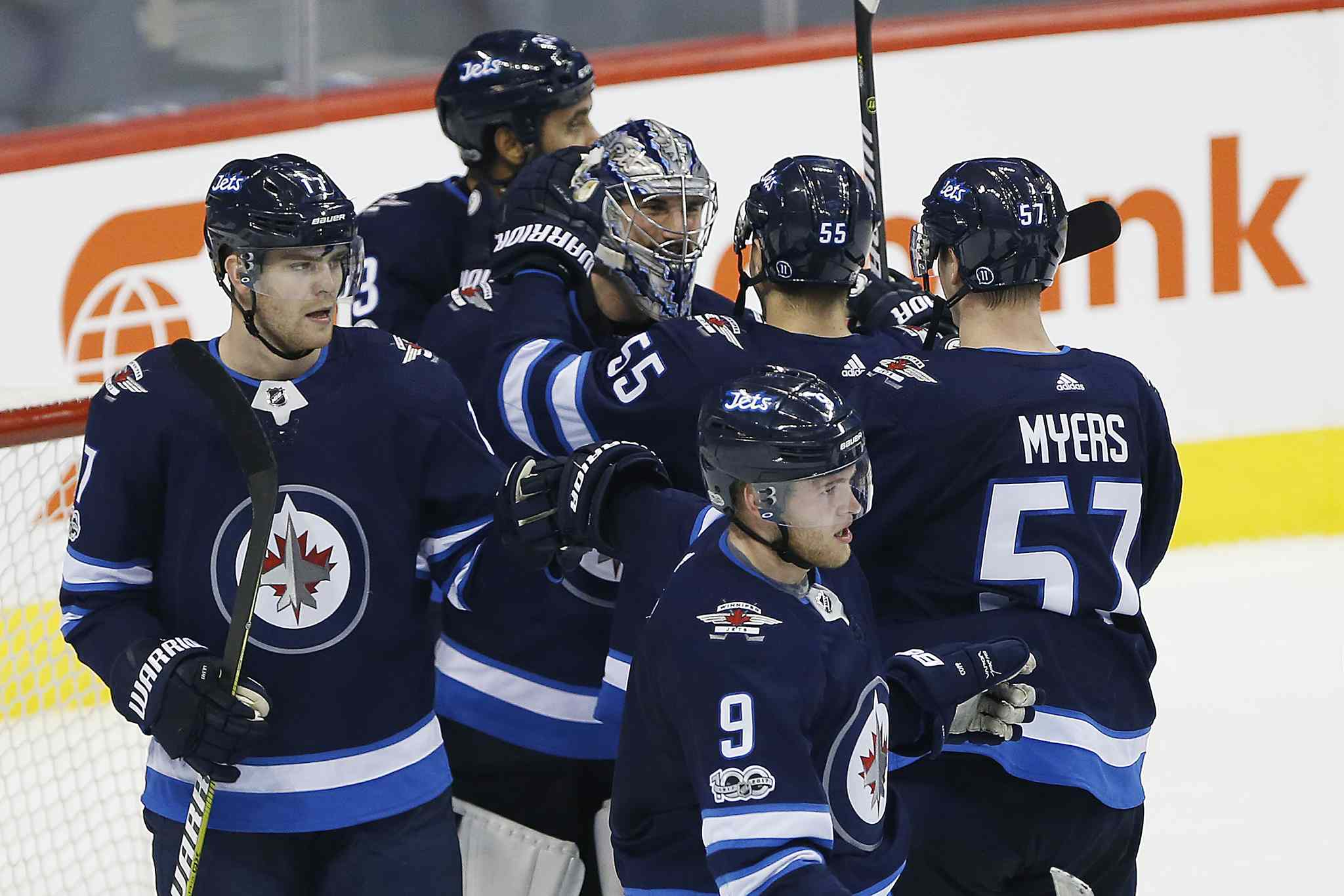 JOHN WOODS / WINNIPEG FREE PRESS</p><p>Winnipeg Jets goaltender Connor Hellebuyck (37) and his teammates celebrate a shutout against the Ottawa.</p>