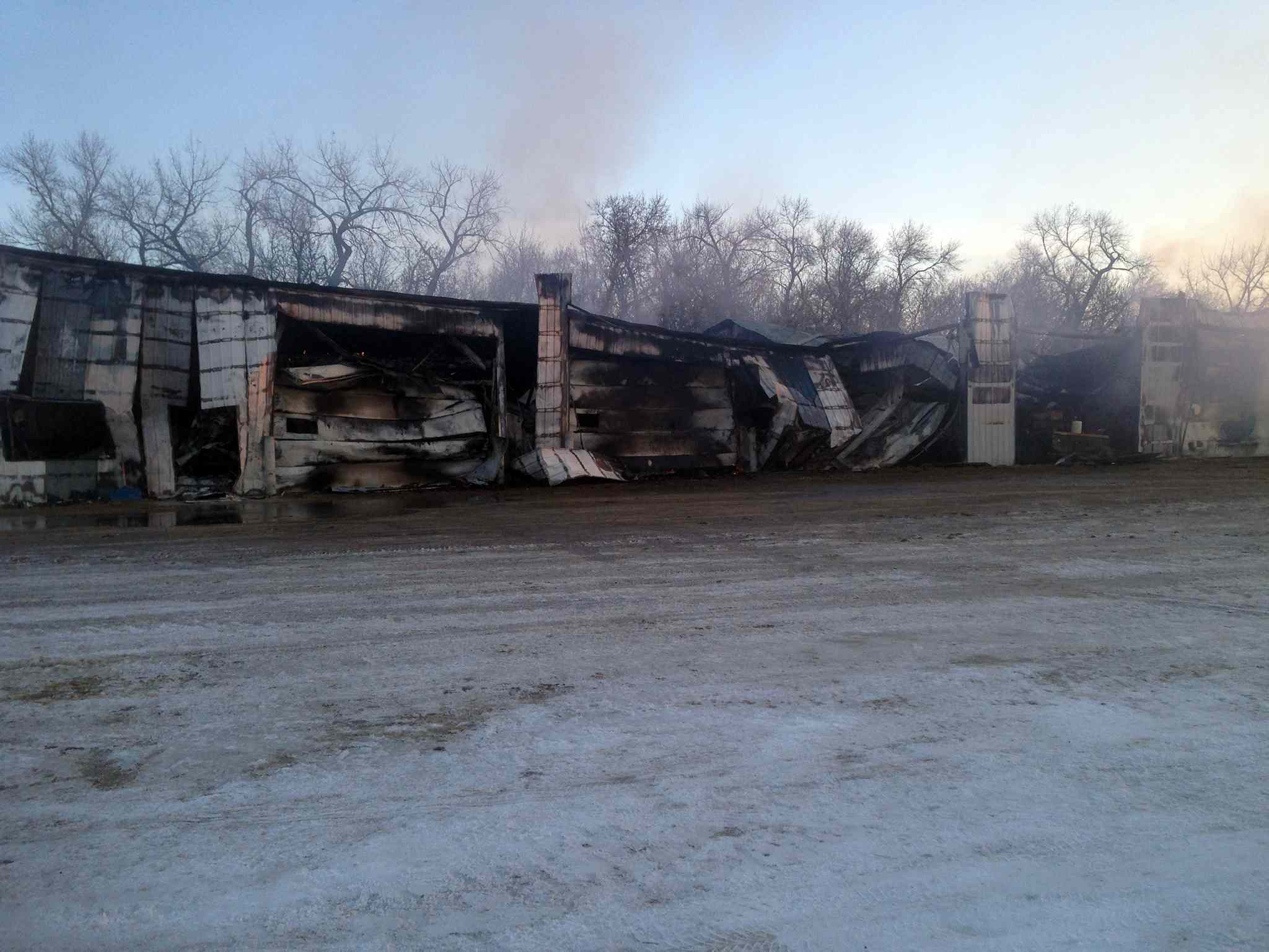 The Hamiota Feedlot was totally destroyed by the fire.