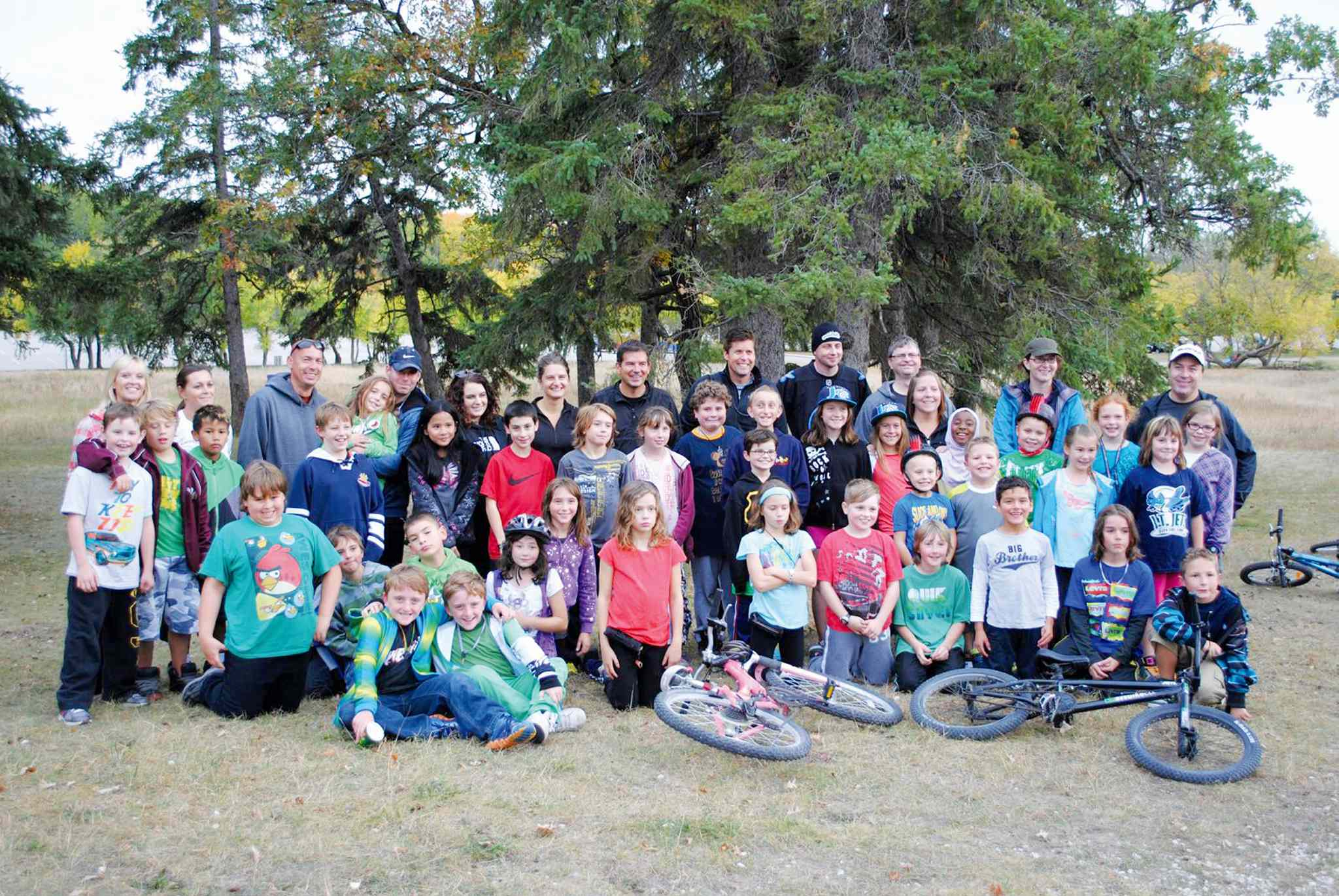 A group of 40 Grade 4 and 5 students from Joseph Teres School's mountain bike club embarked on the 25km ride from the school to Birds Hill Park on Sept. 27. The trip was the 25th for club organizer and gym teacher David Markham.