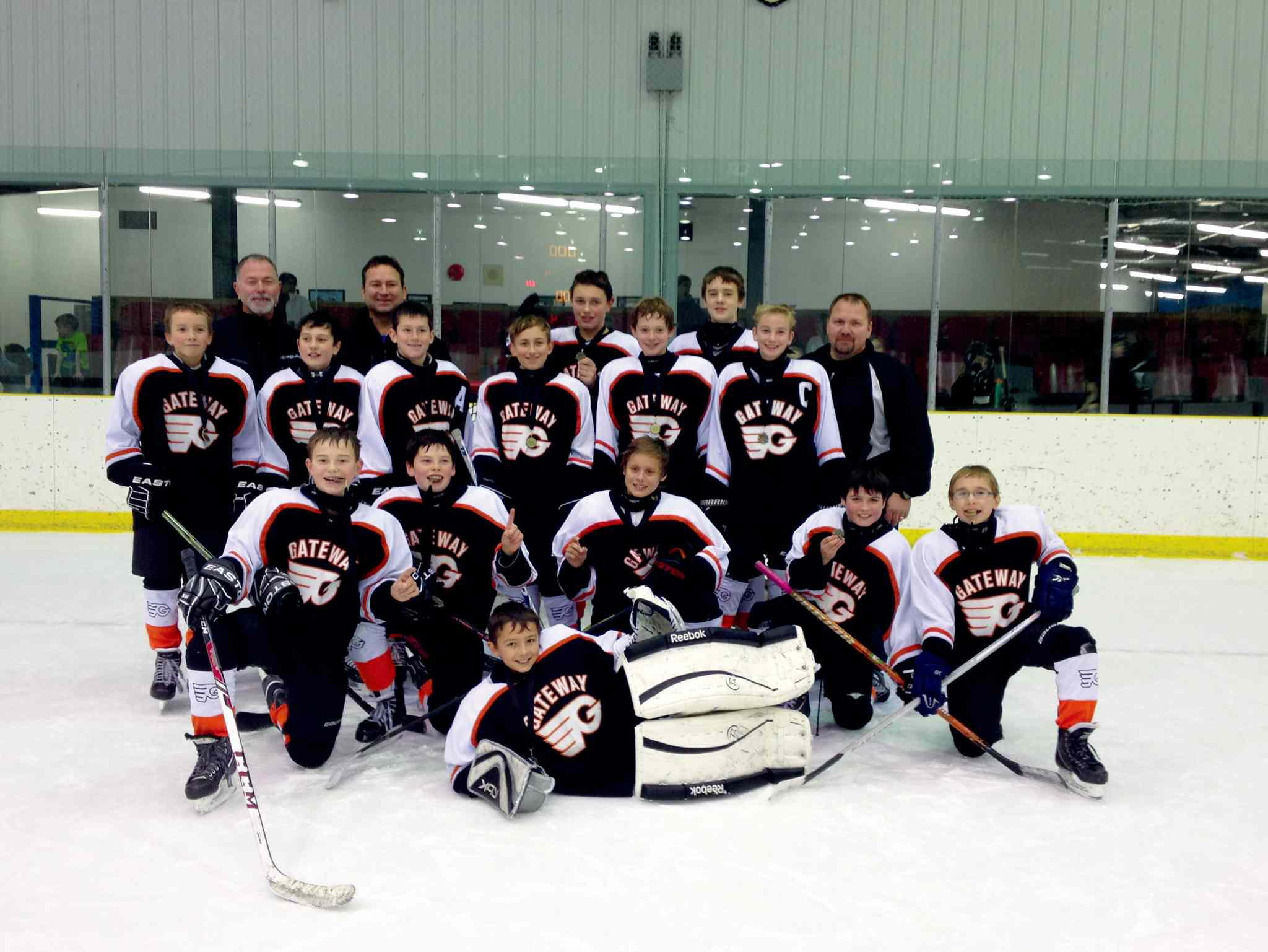 The Gateway Flyers 12A2 hockey team won the peewee tournament in Beausejour over the Nov. 15-17 weekend.