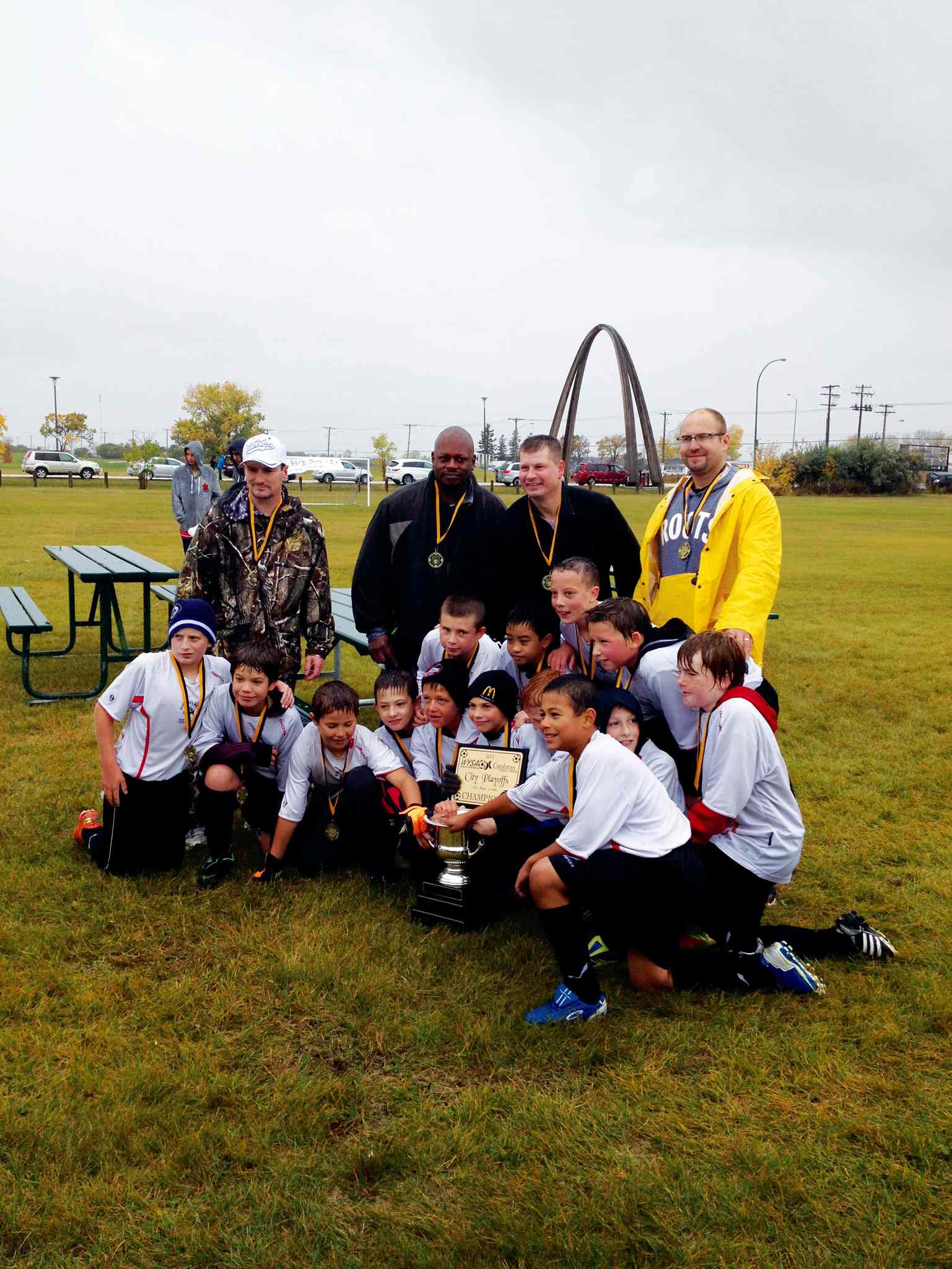 The Park City West U11 boys' soccer team captured the Cambrian City Championship with a 1-0 extra-time victory over Lindenwoods on Sept. 28. The team posted an 11-1-1 regular season record before rolling through the playoffs. Back row: Rob Rayner (assistant coach), KC Clark (coach), Stan Watcher (assistant coach), Greg Batiuk (coach). Middle row: Jeremy Watcher, Lawrence Polincia, Aiden Hordyck, Justin Joyal, Mathew Smith. Front row: Connor Batiuk, Colby Nicol, Michael Sears, Brayden Graben, Gareth Cosgrove, Brayden Edel, Joshua Muzik, Noah Rayner, Tyson Clark.
