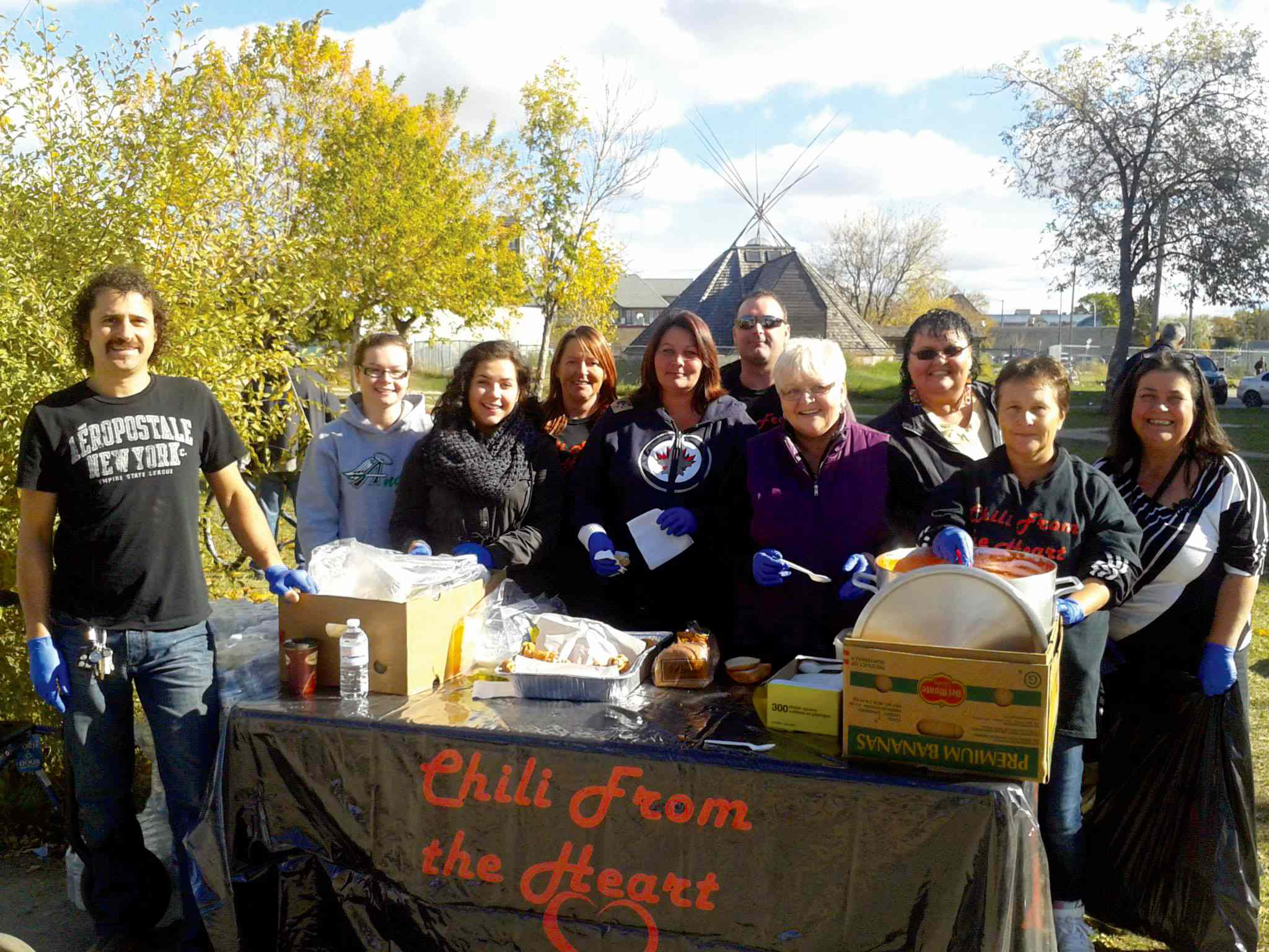 Chili from the Heart volunteers are shown at a recent event giving chili to homeless Winnipeggers at Higgins Avenue and Main Street.
