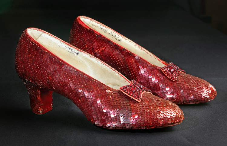 Big shoes to fill? The sequin-covered ruby slippers worn by Judy Garland in  1939's The Wizard of Oz are seen in a 2011 file photo.