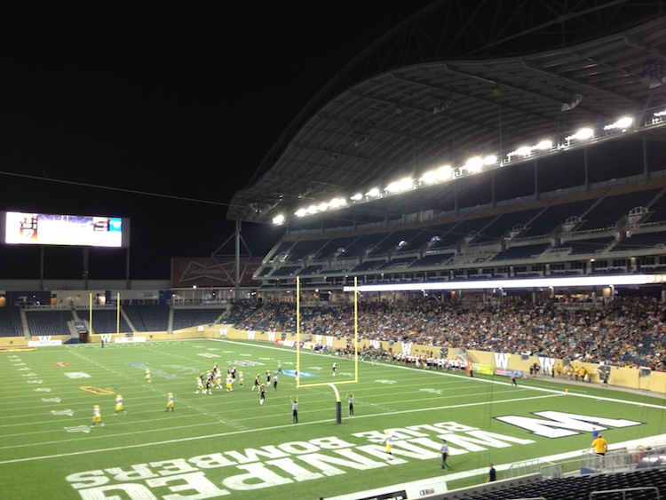 Investors Group Field as seen from one of the end zones Friday night. (Ken Gigliotti / Winnipeg Free Press)