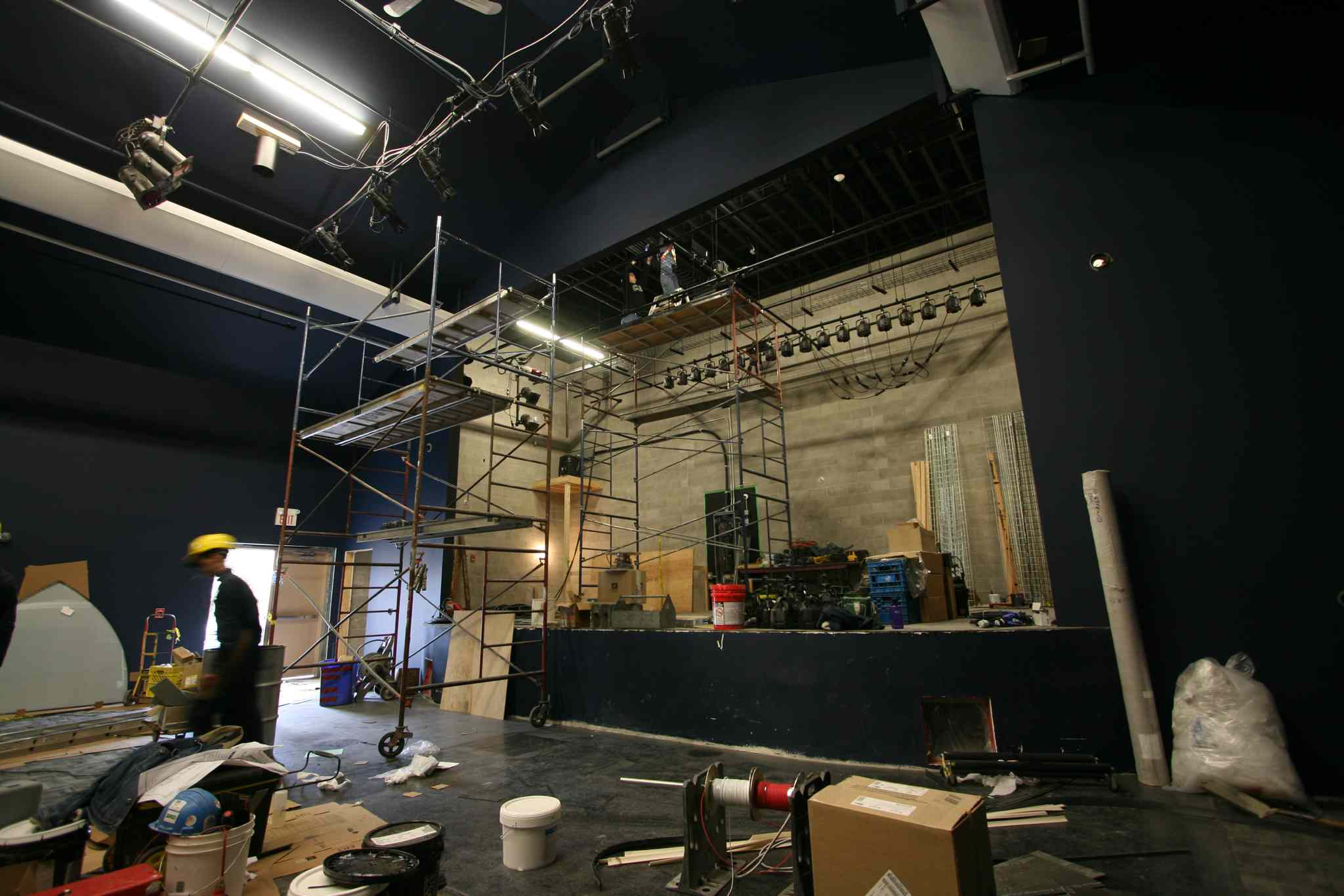 The stage under renovation. (Nicholas Friesen photo)