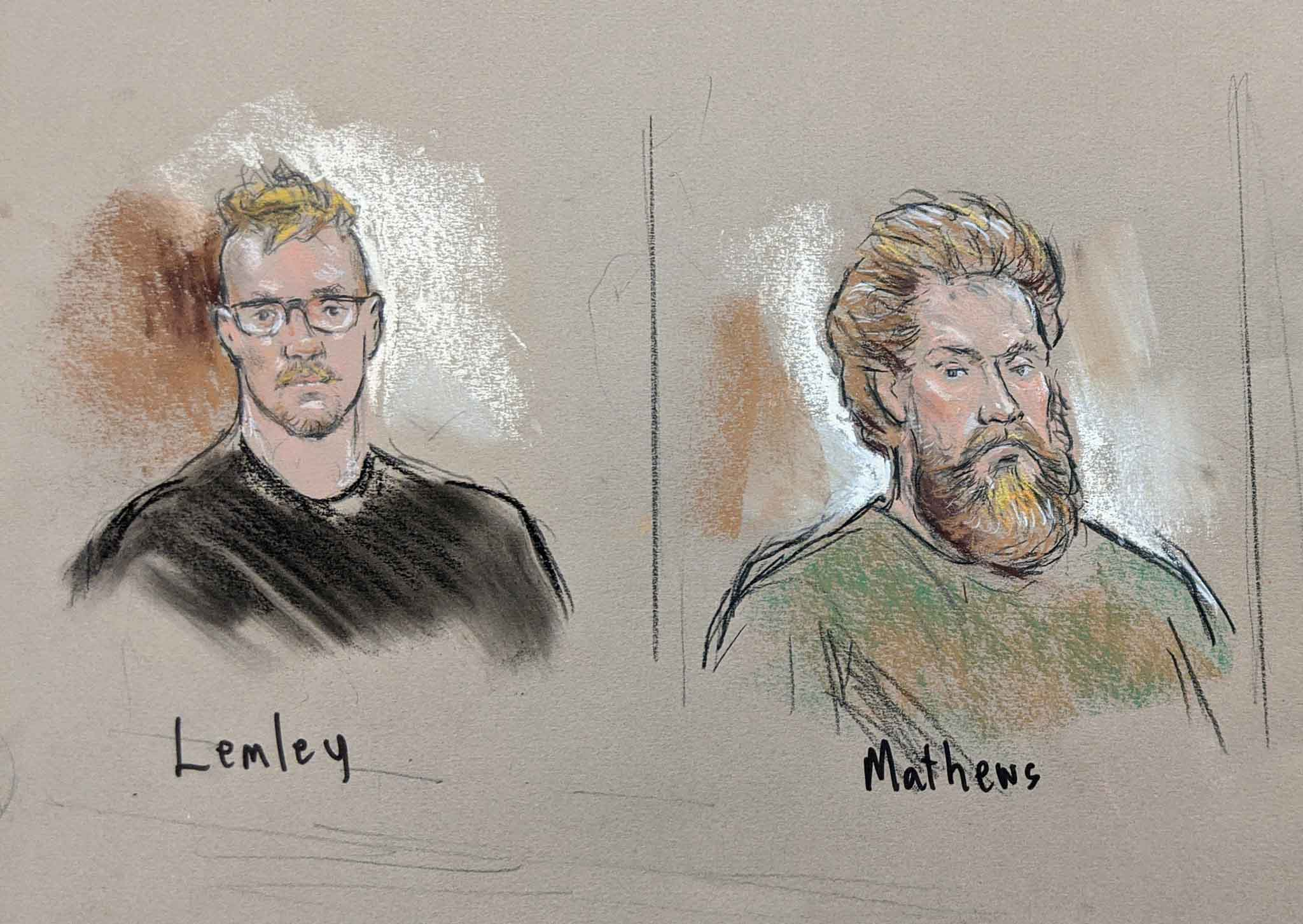 Brian Mark Lemley Jr. and Patrik Mathews appeared in court on Jan. 15, 2020 in Greenbelt, MD.