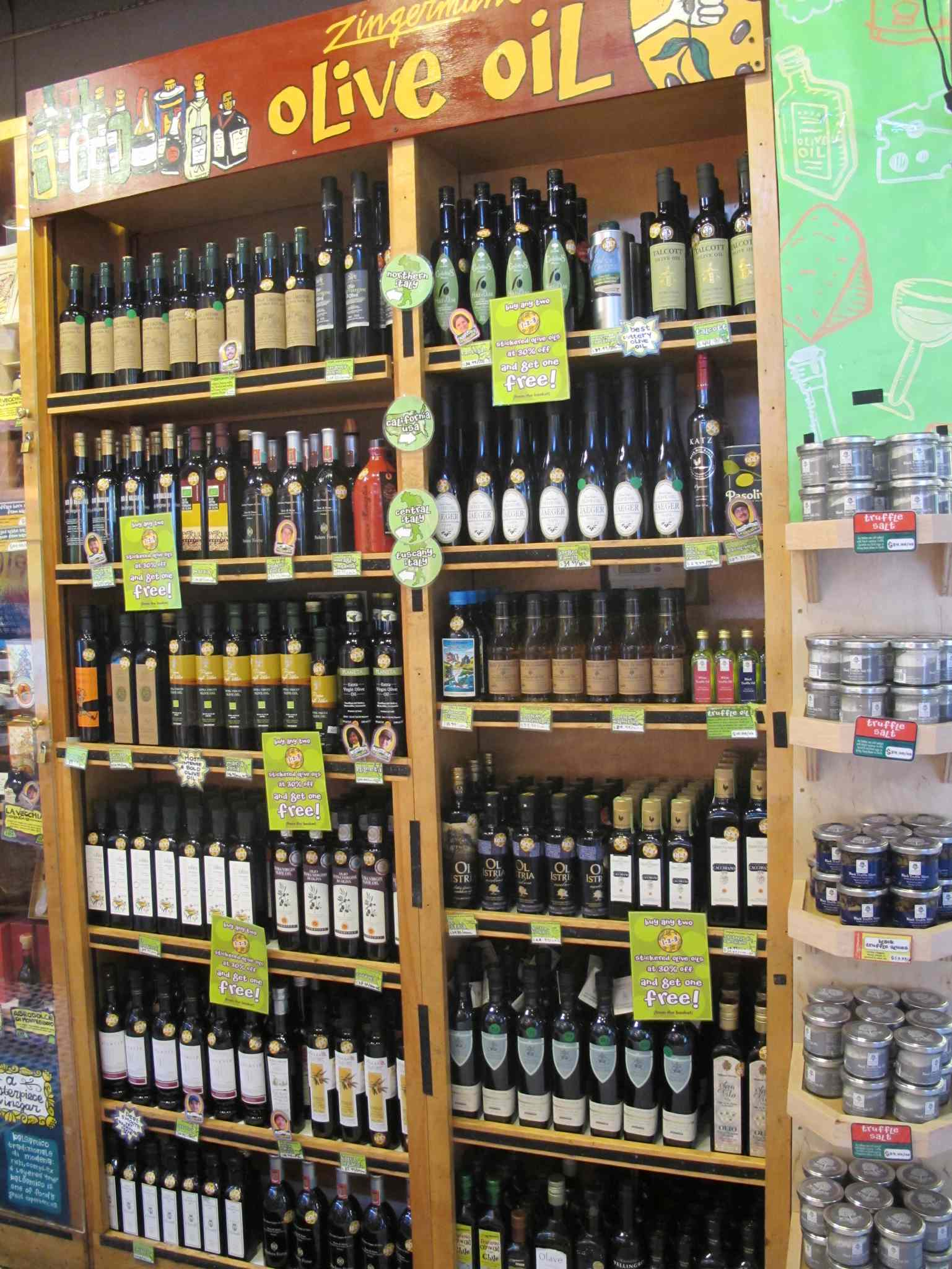 A selection of olive oils at Zingerman's.