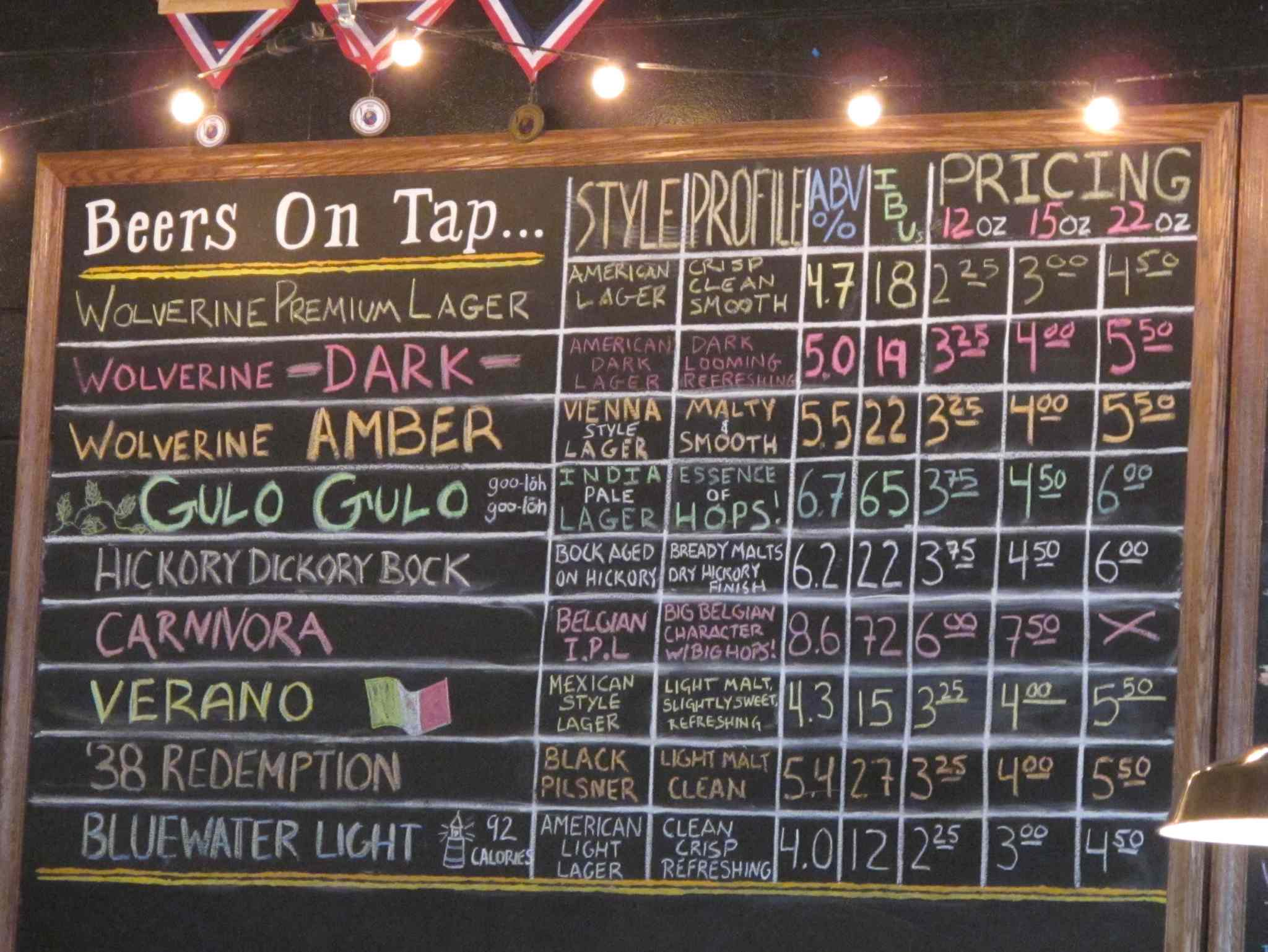 Board of beers at Wolverine State Brewing Co.
