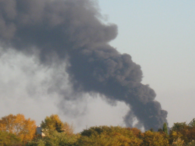 Smoke from the fire was visible across the city.