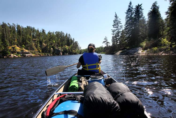 Tracy Tjaden powers a canoe through sparkling water and outcrops of ancient rocks along the Manigotagan River in July.