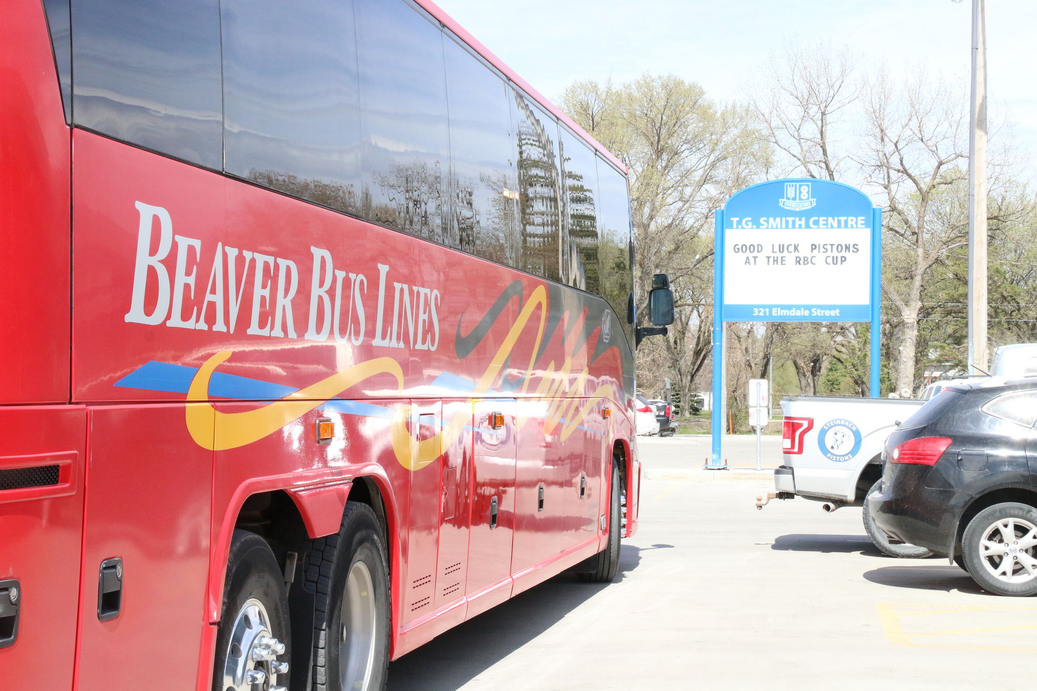 The Pistons' team bus leaves the T.G. Smith Centre Friday morning bound for the airport.