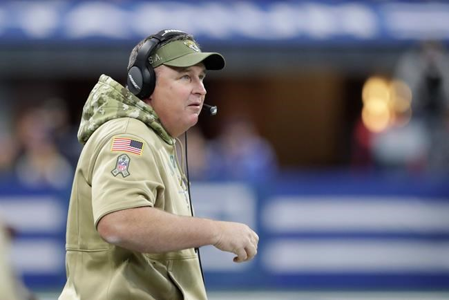 Jacksonville Jaguars head coach Doug Marrone watches during the first half of an NFL football game against the Indianapolis Colts, Sunday, Nov. 17, 2019, in Indianapolis. (AP Photo/Michael Conroy)