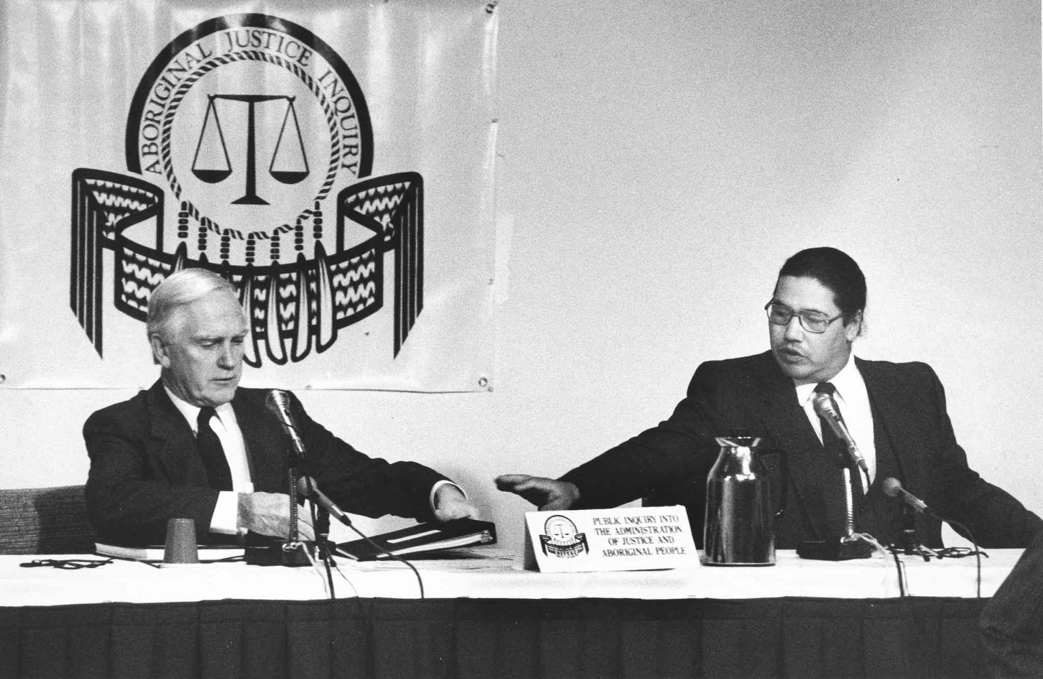 The Aboriginal Justice Inquiry, seen here on Nov. 15, 1989: Commissioners Alvin Hamilton (left) and Murray Sinclair.