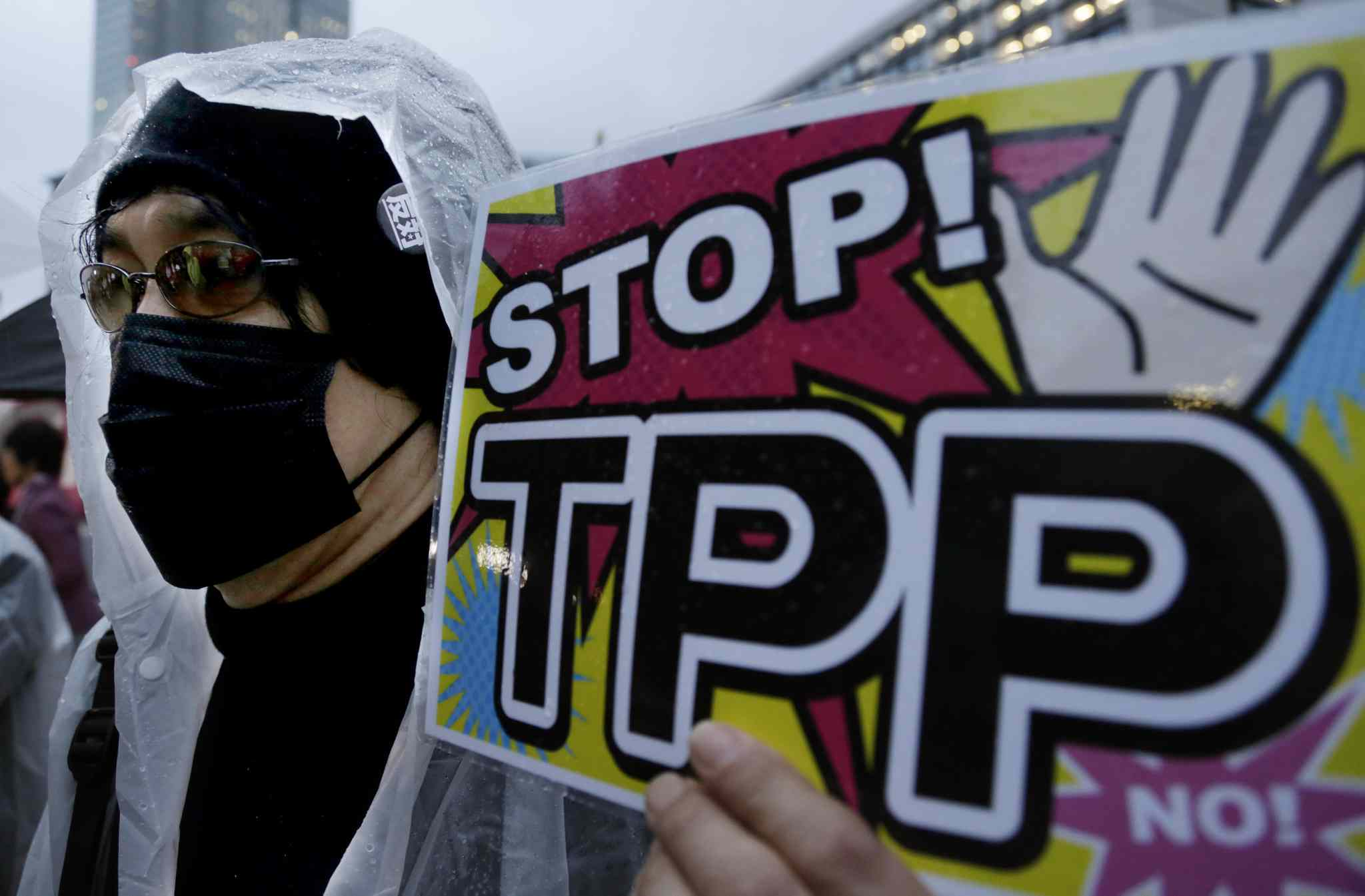In this April 22, 2014 file photo, a protester holds a placard during a rally against the Trans-Pacific Partnership (TPP) in Tokyo.