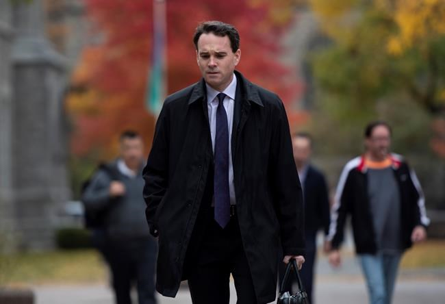 Ian Carter, lawyer for Cameron Ortis, arrives at the courthouse in Ottawa, Tuesday, Oct. 22, 2019. Ortis, a senior intelligence officer at the RCMP, is accused on charges of violating the Security of Information Act. THE CANADIAN PRESS/Justin Tang