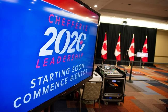 A television that will show the broadcast announcing the new leader of the Conservative Party of Canada displays a message that the stream will start soon, as the party continues to experience delays due to ballot counting, in Ottawa, moments before midnight on Sunday, Aug. 23, 2020. THE CANADIAN PRESS/Justin Tang