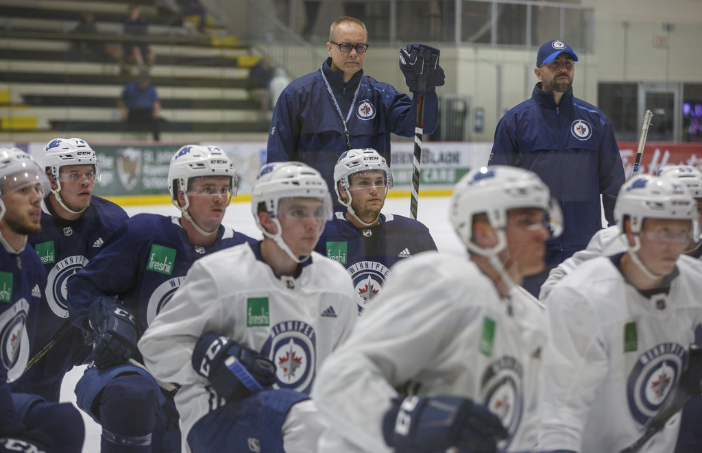 Winnipeg Jets head coach Paul Maurice keeps an eye his team's prospects during the 2019 development camp at the Bell MTS Iceplex last June.