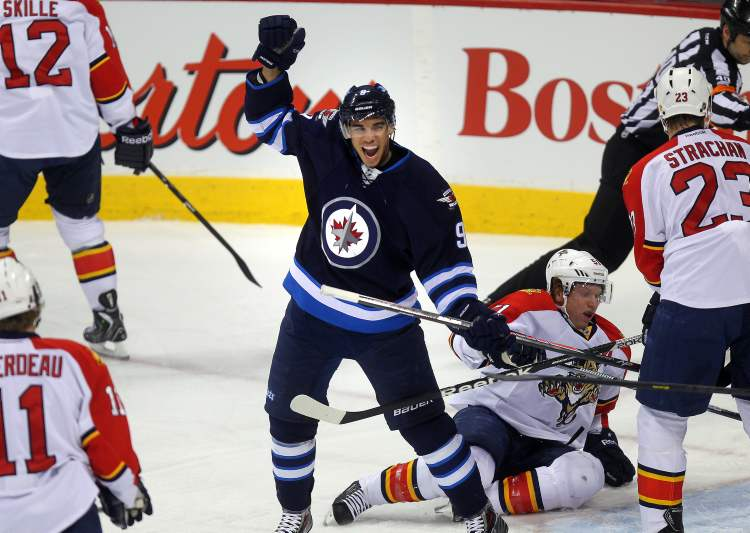 Winnipeg Jets forward Evander Kane celebrates his goal in the first period against the Florida Panthers.
