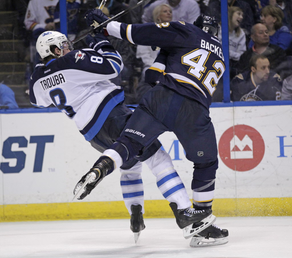 St. Louis Blues' David Backes (42) collides with Winnipeg Jets' Jacob Trouba (8) during the second period. (Tom Gannam / The Associated Press )
