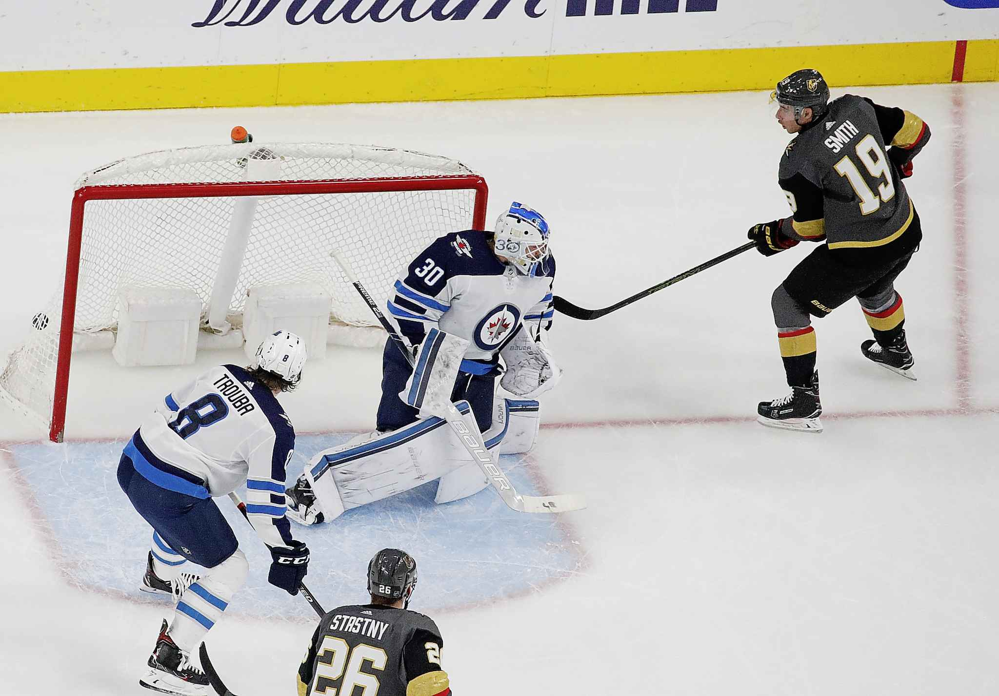 Vegas Golden Knights right wing Reilly Smith scores on Winnipeg Jets goaltender Laurent Brossoit during the first period Thursday in Las Vegas.