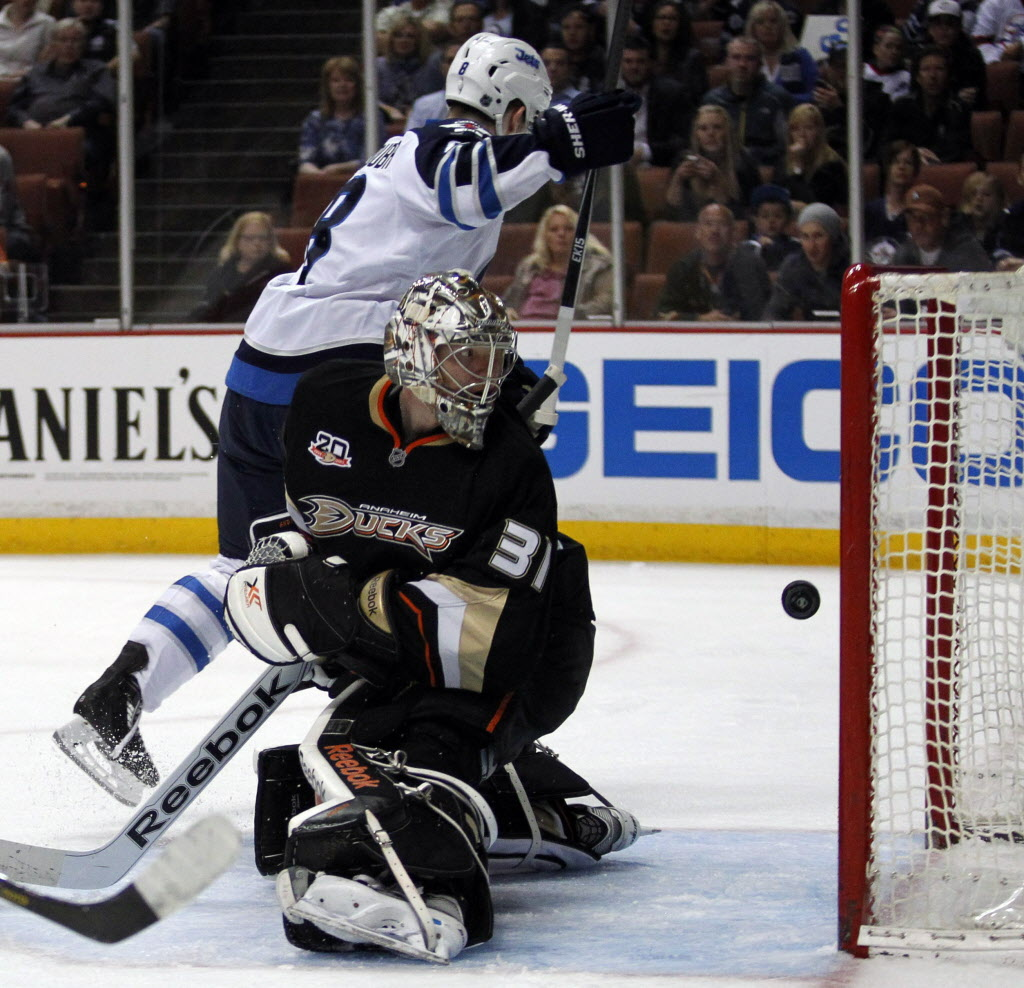 Winnipeg Jets' defenseman Jacob Trouba (8) scores against Anaheim Ducks' goalie Frederik Andersen (31). (Alex Gallardo / The Associated Press)
