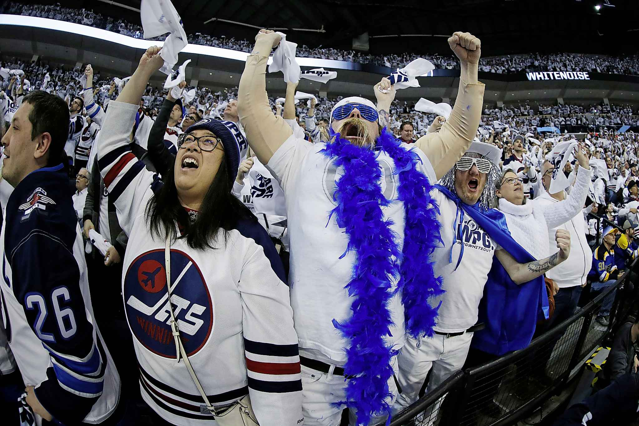 Winnipeg Jets gear easily identifies Winnipeggers wherever they are. (John Woods / The Canadian Press files)