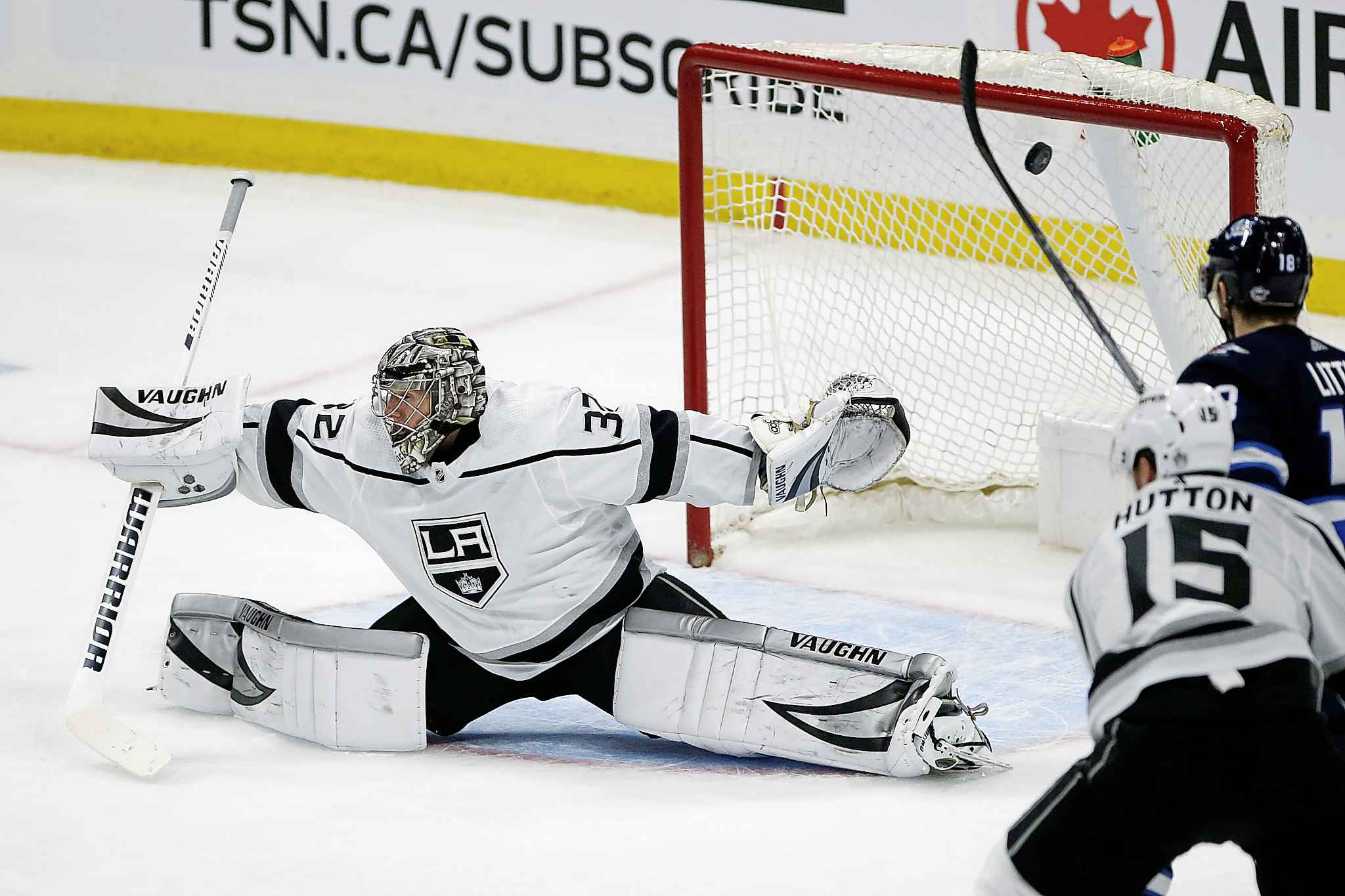Los Angeles Kings goaltender Jonathan Quick can't stop the shot from Winnipeg Jets' Kyle Connor  during first period Tuesday.