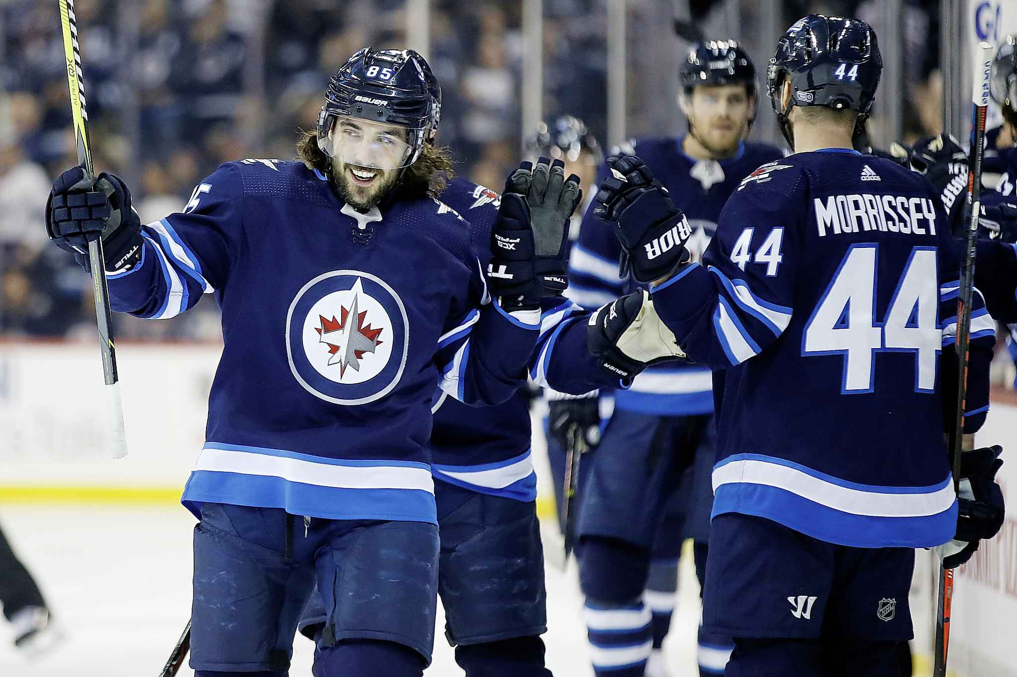 Winnipeg Jets' Mathieu Perreault celebrates his goal against the Colorado Avalanche during the first period in Winnipeg on Tuesday.