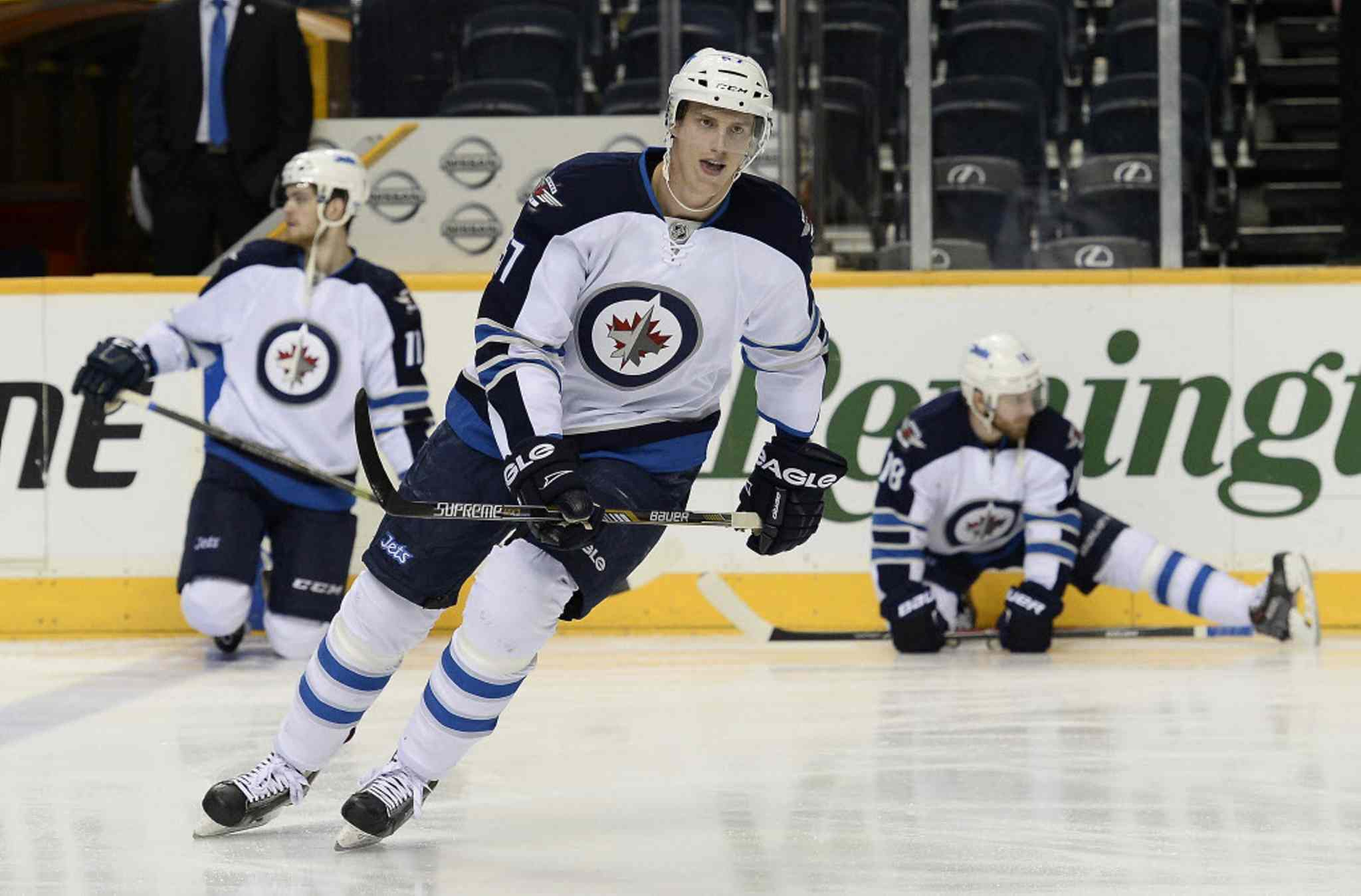 Winnipeg Jets defenceman Tyler Myers blocked a hard shot late in the game in Nashville and skipped Friday's workout in Detroit. He will be available for tonight's game.