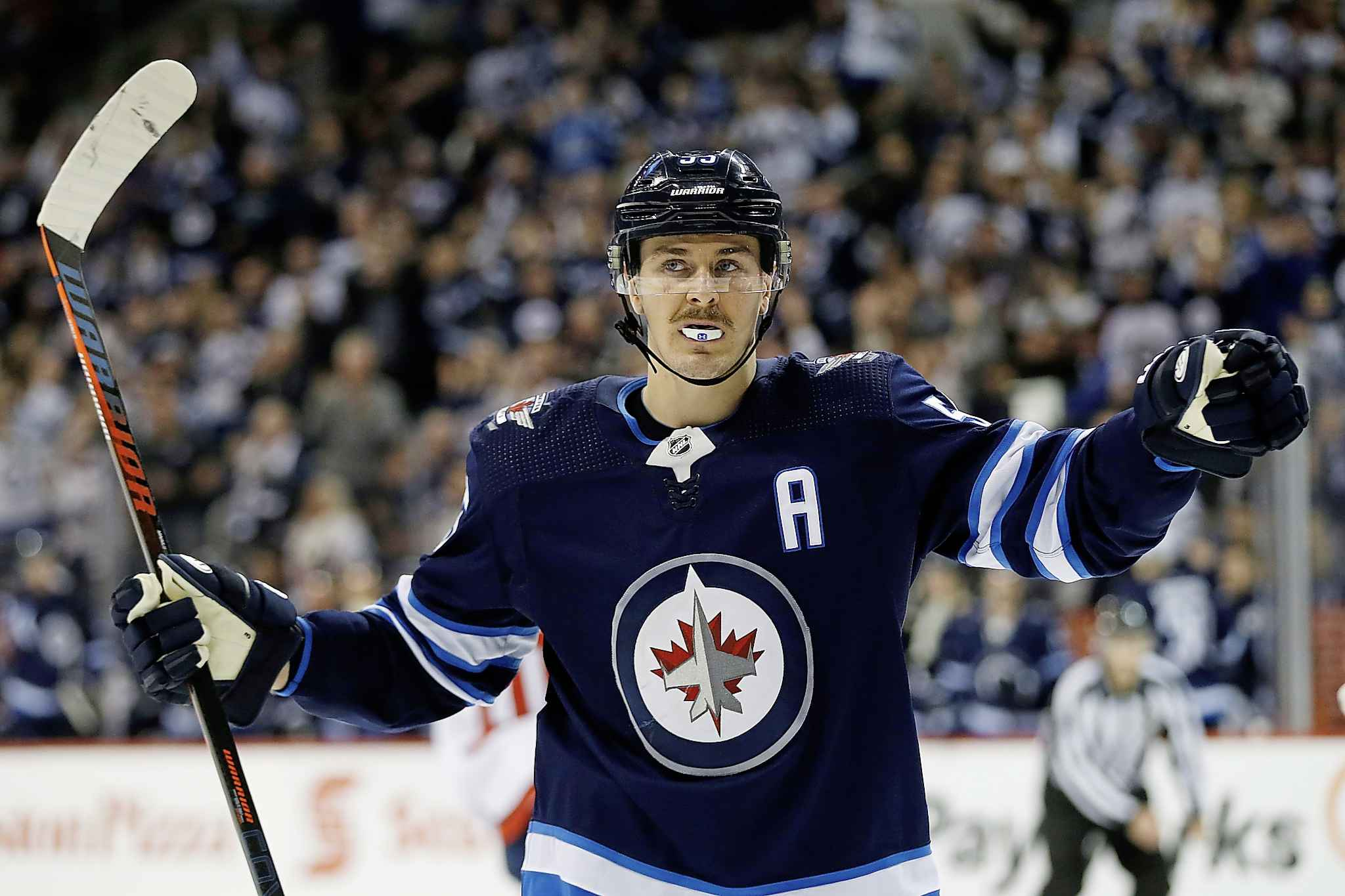 Winnipeg Jets' Mark Scheifele celebrates his goal against the Washington Capitals during second period Wednesday.