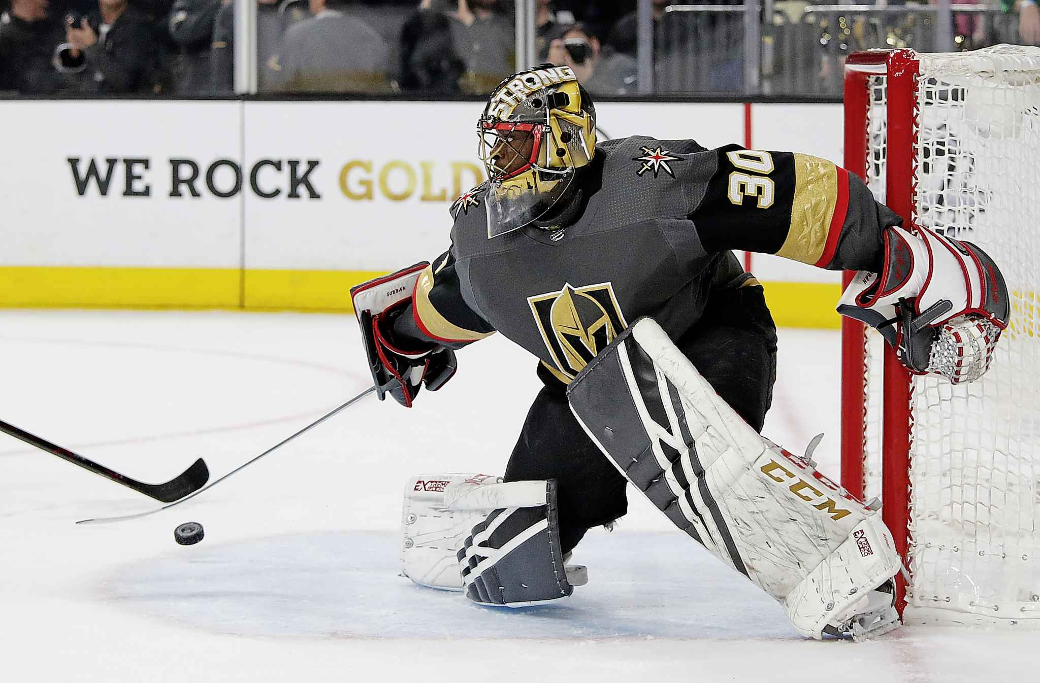 Vegas Golden Knights goaltender Malcolm Subban blocks shot by the Winnipeg Jets during the first period.