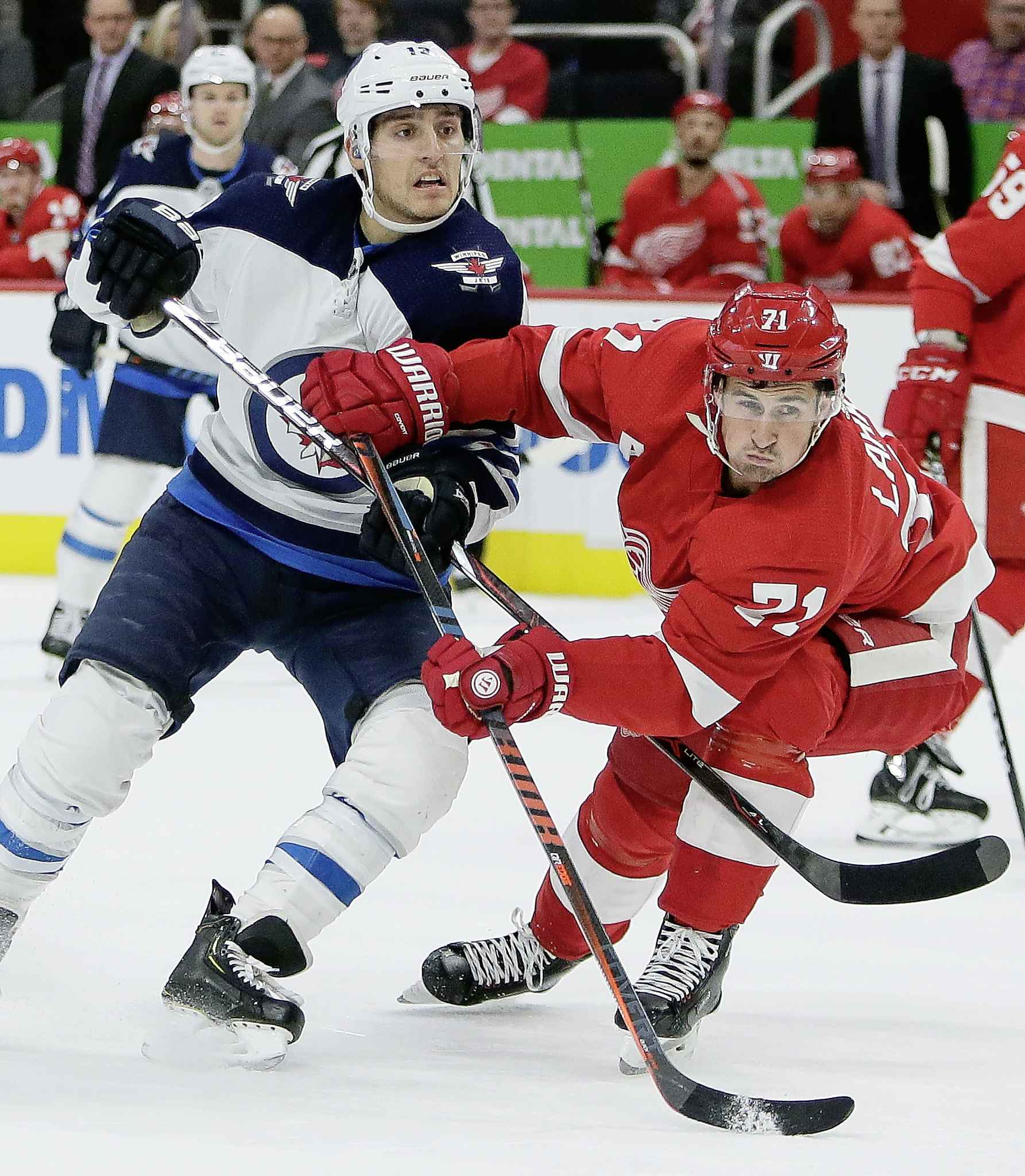 Winnipeg Jets left wing Brandon Tanev, left, battles for position with Detroit Red Wings center Dylan Larkin (71) during the first period of an NHL hockey game Friday, Oct. 26, 2018, in Detroit. (AP Photo/Duane Burleson) CP