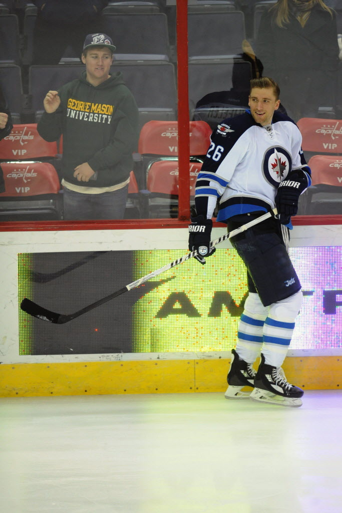 Winnipeg Jets' right wing Blake Wheeler (26) warms up before an NHL game against the Washington Capitals at the Verizon Center in Washington on Thursday. (Mitchell Layton / Tribune Media MCT)