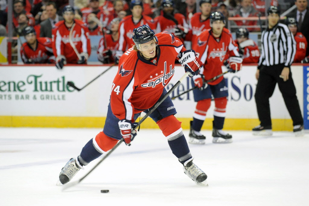 Washington Capitals' defenceman John Carlson (74) takes a shot during the second period against the Winnipeg Jets at the Verizon Center in Washington on Thursday. (Mitchell Layton / Tribune Media MCT)