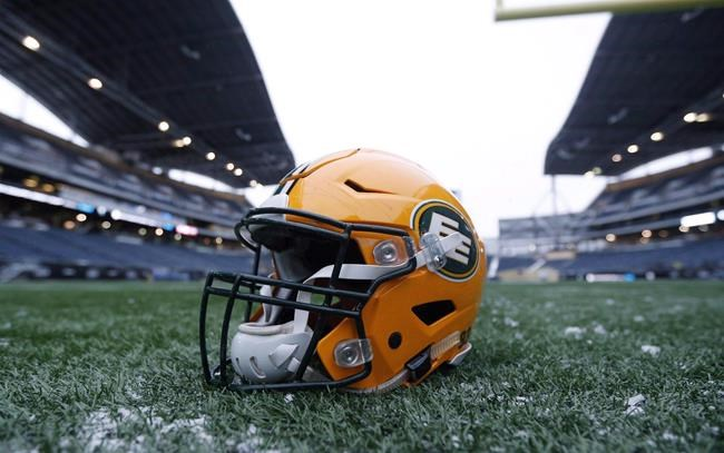 A helmet belonging to a Edmonton Eskimos player is seen on the field during a team practice session in Winnipeg on Wednesday, Nov. 25, 2015. The Edmonton Eskimos will change their name. The CFL squad made the move Tuesday, following a similar decision by the NFL's Washington team as pressure mounts on teams to eliminate racist or stereotypical names. THE CANADIAN PRESS/John Woods
