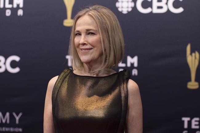 """Catherine O'Hara arrives on the red carpet at the Canadian Screen Awards in Toronto on Sunday, March 11, 2018. Canadian """"Schitt's Creek"""" star Catherine O'Hara has won an Emmy Award for lead actress in a comedy series. THE CANADIAN PRESS/Chris Young"""