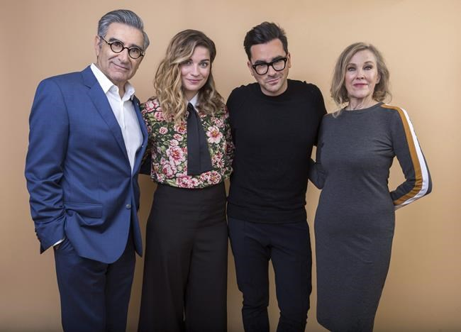"""Eugene Levy, from left, Annie Murphy, Daniel Levy and Catherine O'Hara cast members in the Pop TV series """"Schitt's Creek"""" pose for a portrait during the 2018 Television Critics Association Winter Press Tour at the Langham Huntington hotel on Sunday, Jan. 14, 2018, in Pasadena, Calif. THE CANADIAN PRESS/AP, Willy Sanjuan - Invision"""
