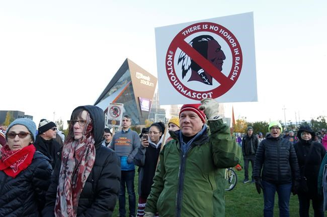 Native American leaders protest against the Redskins team name outside U.S. Bank Stadium before an NFL football game between the Minnesota Vikings and the Washington Redskins in Minneapolis on Oct. 24, 2019. Brandon Burley felt his chest tighten as news spread Washington's NFL team was going to change its controversial name. The mayor of Morden thought it was the right decision, but also recognized what it meant for his rural Manitoba community. THE CANADIAN PRESS/AP, Bruce Kluckhohn