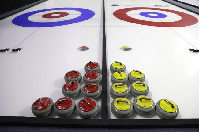 Curling rocks are shown Friday, Feb. 10, 2017, during a media demonstration the day before the opening ceremonies of the USA Curling Nationals in Everett, Wash. Curling Canada has cancelled six more events in 2021 because of the COVID-19 pandemic. THE CANADIAN PRESS/AP, Ted S. Warren