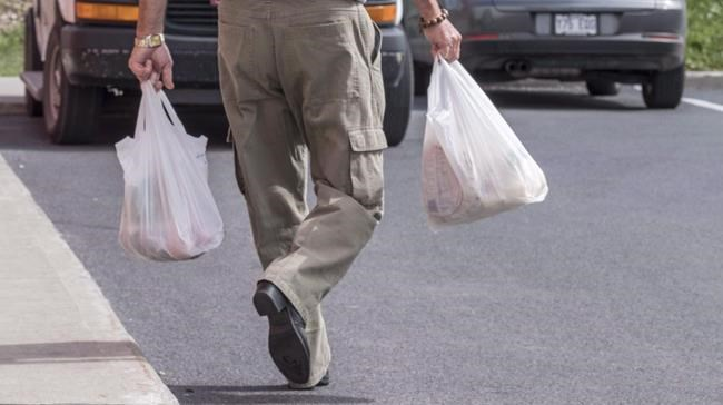 A shopper leaves a grocery store carrying his groceries in plastic bags Tuesday, August 30, 2016 in Brossard, Que. In mid January the British Columbia government announced it was looking at a province-wide ban on single-use plastic grocery bags to put an end to a piece-meal, city-by-city approach to the problem of plastic pollution. THE CANADIAN PRESS/Paul Chiasson