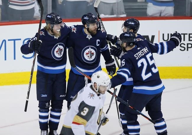 JOHN WOODS / THE CANADIAN PRESS</p><p>Winnipeg Jets' Patrik Laine (29), Blake Wheeler (26), Mark Scheifele (55) and Paul Stastny (25) celebrate Laine's goal against the Vegas Golden Knights during first period of game one action in the NHL Western Conference Final in Winnipeg on Saturday, May 12, 2018.</p>